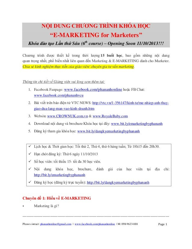 Nội dung đào tạo E-Marketing