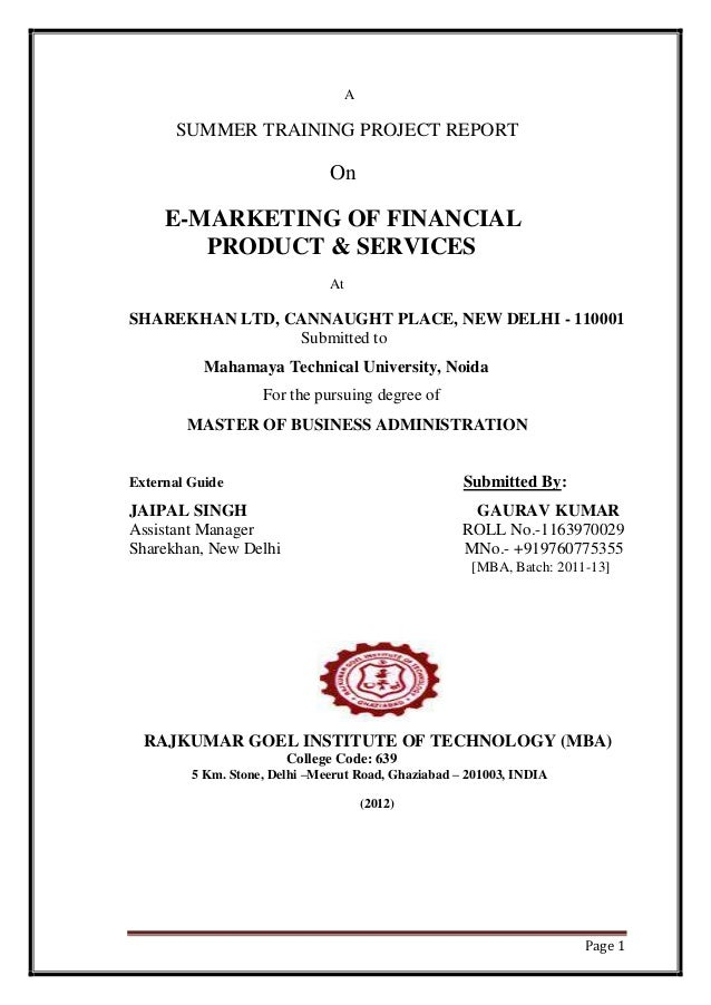 E marketing of financial product  services of sharekhan(gaurav kumar)mr.vinay k srivastava