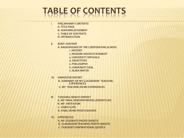tabe of contents on ojt report