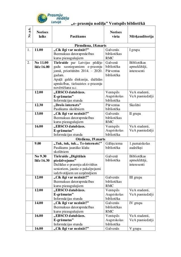 E-prasmju nedēļas pasākumi Ventspils bibliotēkā (kalendārs 2013)