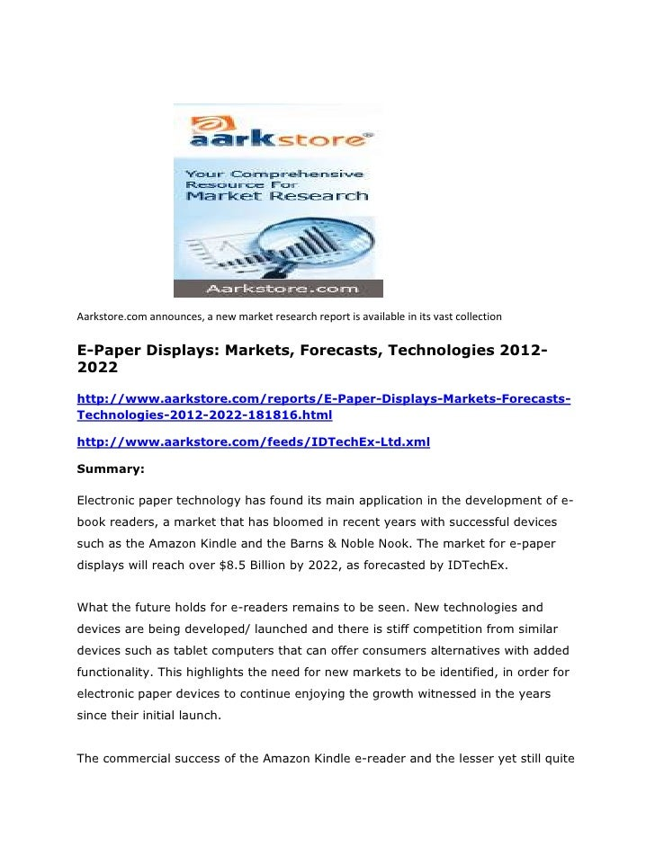 E paper displays markets, forecasts, technologies 2012-2022
