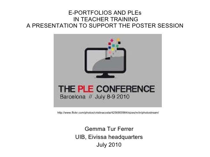 E portfolios and pl es in teacher training
