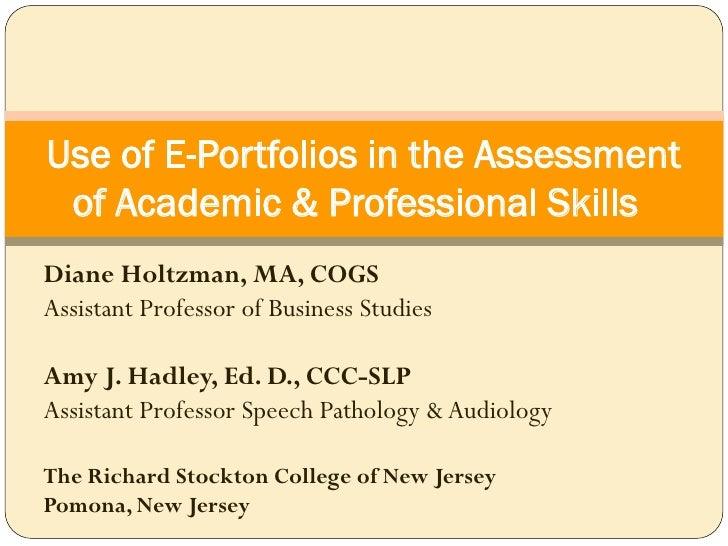 E Portfolios In Assessment Holtzman & Hadley
