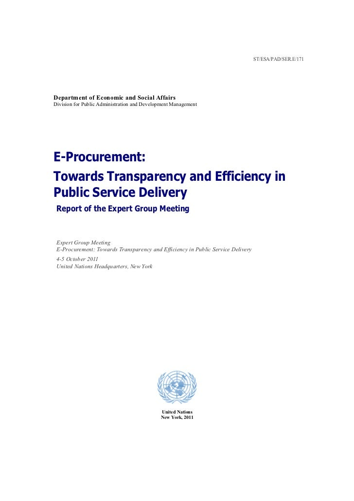 E-Procurement: Towards Transparency and Efficiency in Public Service Delivery - Report of the Expert Group Meeting