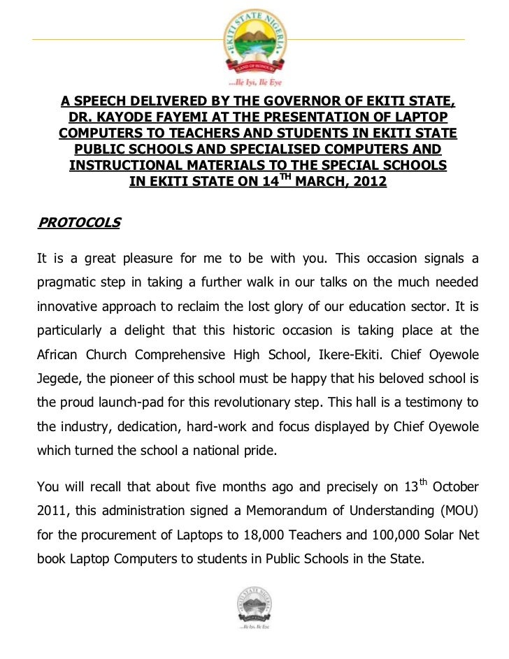 A SPEECH DELIVERED BY THE GOVERNOR OF EKITI STATE,    DR. KAYODE FAYEMI AT THE PRESENTATION OF LAPTOP   COMPUTERS TO TEACH...