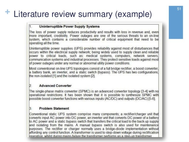 example of a literature review in a research paper