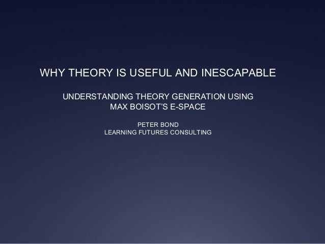 WHY THEORY IS USEFUL AND INESCAPABLE UNDERSTANDING THEORY GENERATION USING MAX BOISOT'S E-SPACE PETER BOND LEARNING FUTURE...