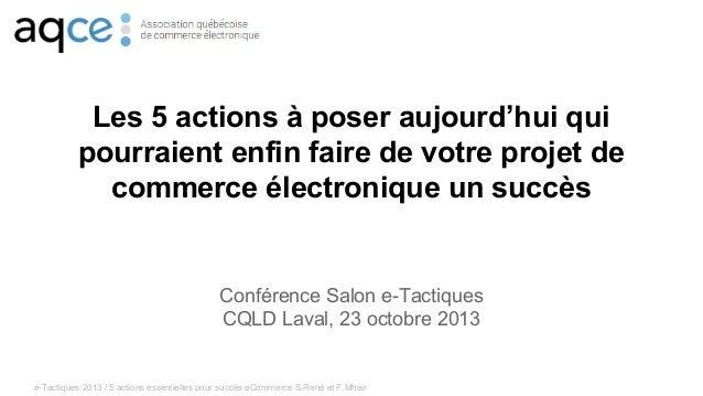 5 actions pour faire un succès d'un projet de commerce électronique