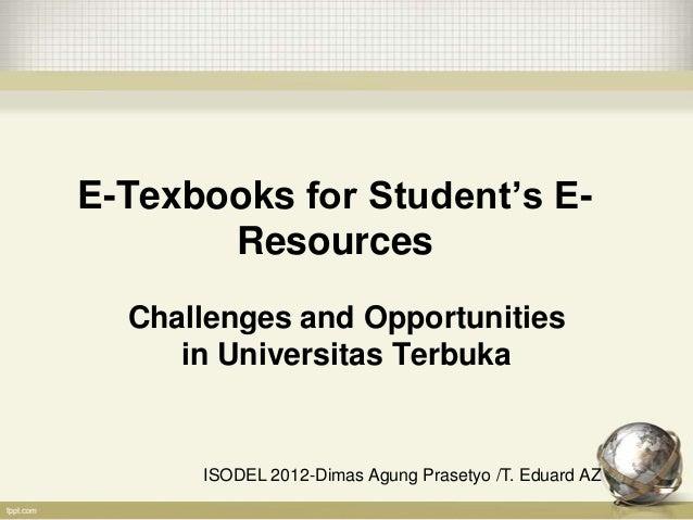 E texbooks for student's e-resources