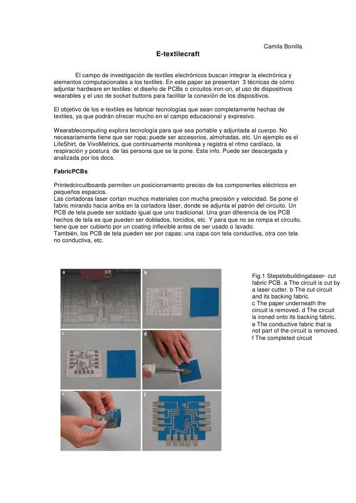 Camila Bonilla                                       E-textilecraft        El campo de investigación de textiles electróni...