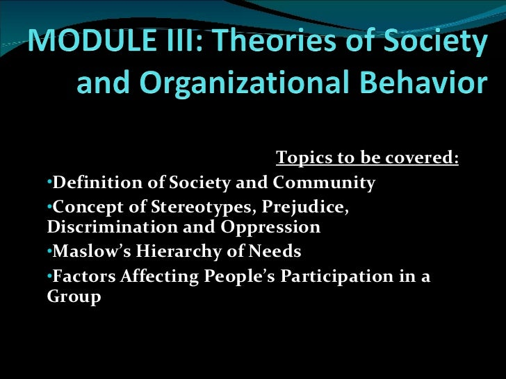 E. theories of society