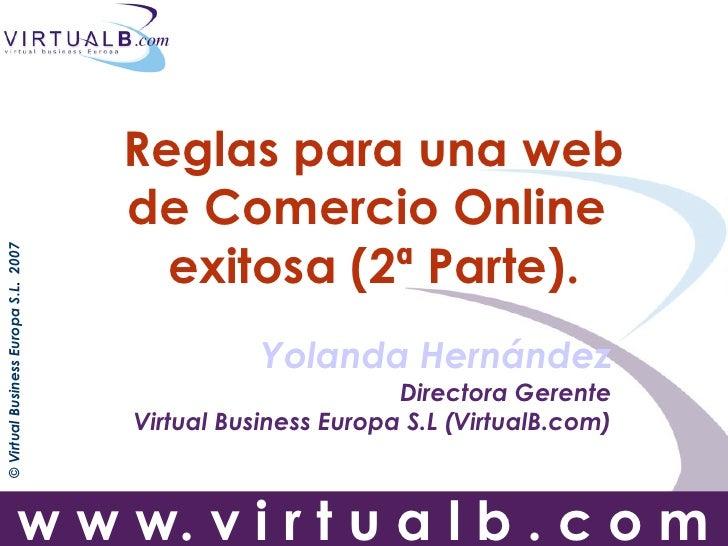 Reglas para una web                                       de Comercio Online                                         exito...