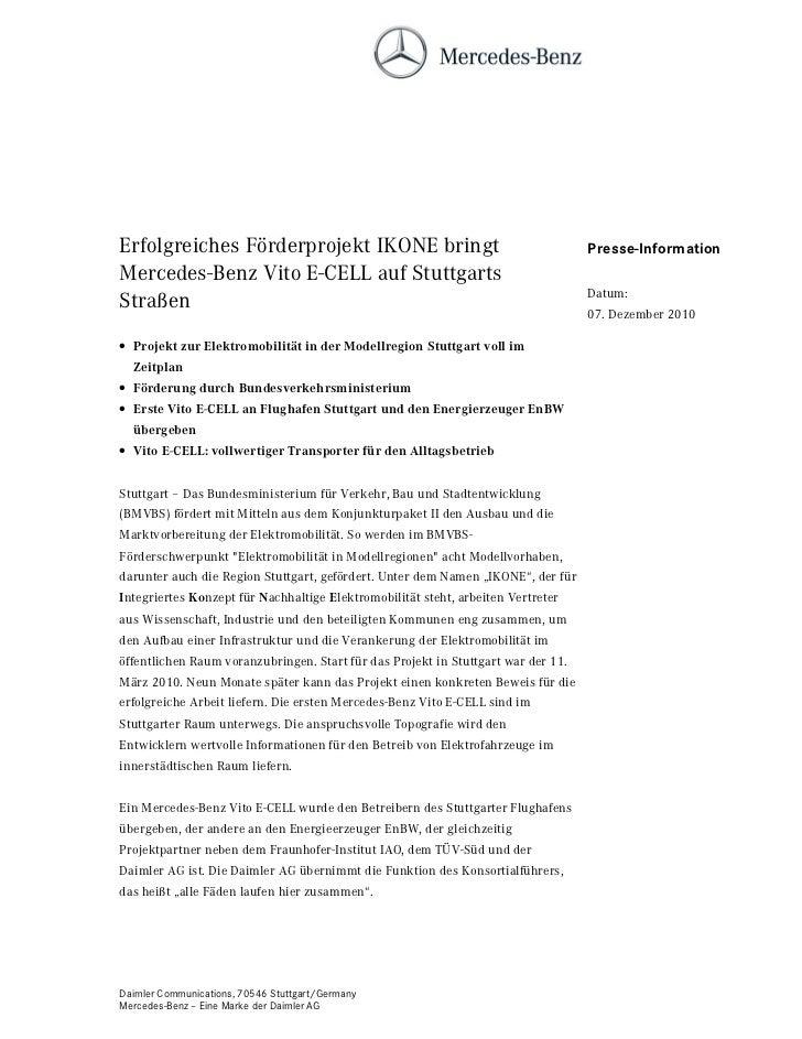 Erfolgreiches Förderprojekt IKONE bringt                                           Presse-InformationMercedes-Benz Vito E-...