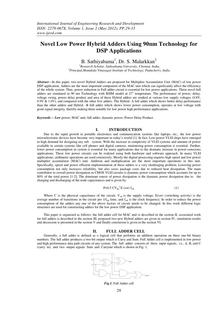 International Journal of Engineering Research and DevelopmentISSN: 2278-067X, Volume 1, Issue 2 (May 2012), PP.29-33www.ij...