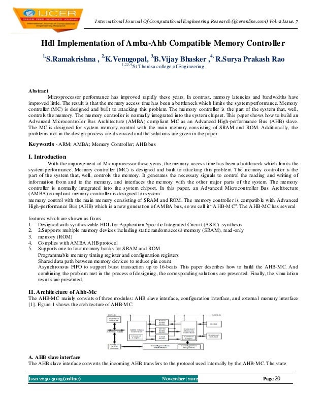 I nternational Journal Of Computational Engineering Research (ijceronline.com) Vol. 2 Issue. 7      Hdl Implementation of ...
