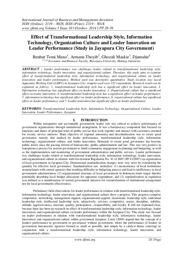 effect of organisational culture on information technology Effect of leadership and organizational culture on information technology effectiveness: a review abstract: there is an increasing interest in the area of information technology success research within the organizations and academia the information wave is sweeping around the world and information technology is.