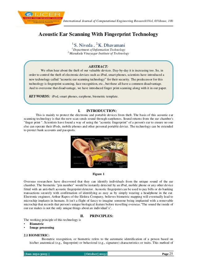 International Journal of Computational Engineering Research||Vol, 03||Issue, 10||  Acoustic Ear Scanning With Fingerprint ...