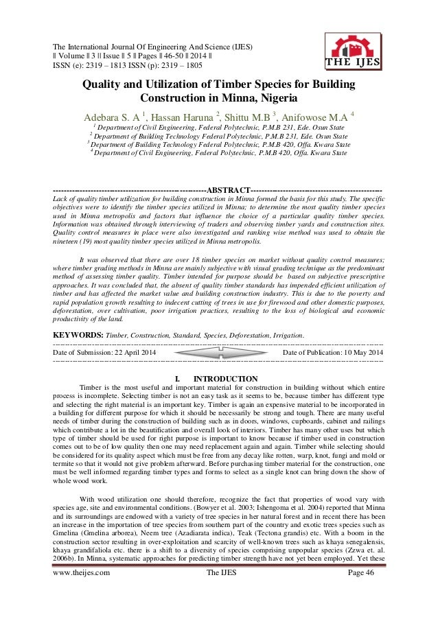The International Journal Of Engineering And Science (IJES) || Volume || 3 || Issue || 5 || Pages || 46-50 || 2014 || ISSN...