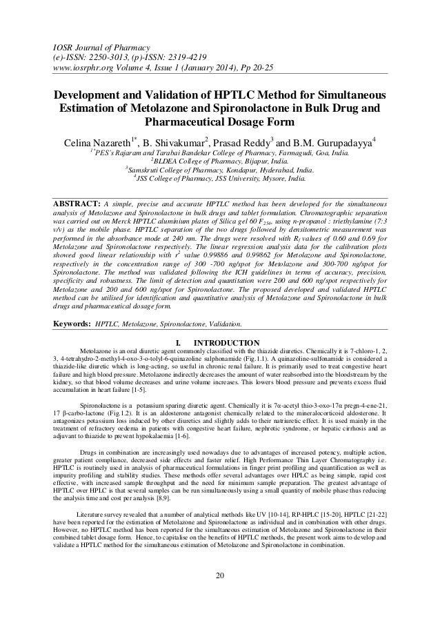IOSR Journal of Pharmacy (e)-ISSN: 2250-3013, (p)-ISSN: 2319-4219 www.iosrphr.org Volume 4, Issue 1 (January 2014), Pp 20-...