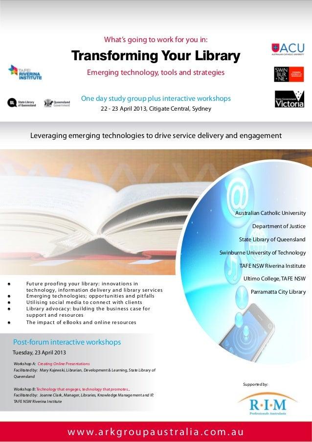 w w w.arkgroupaustralia.com.auEmerging technology, tools and strategiesAustralian Catholic UniversityDepartment of Just...