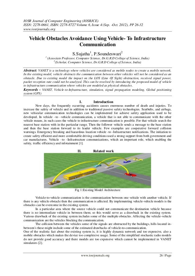 Vehicle Obstacles Avoidance Using Vehicle- To Infrastructure  Communication