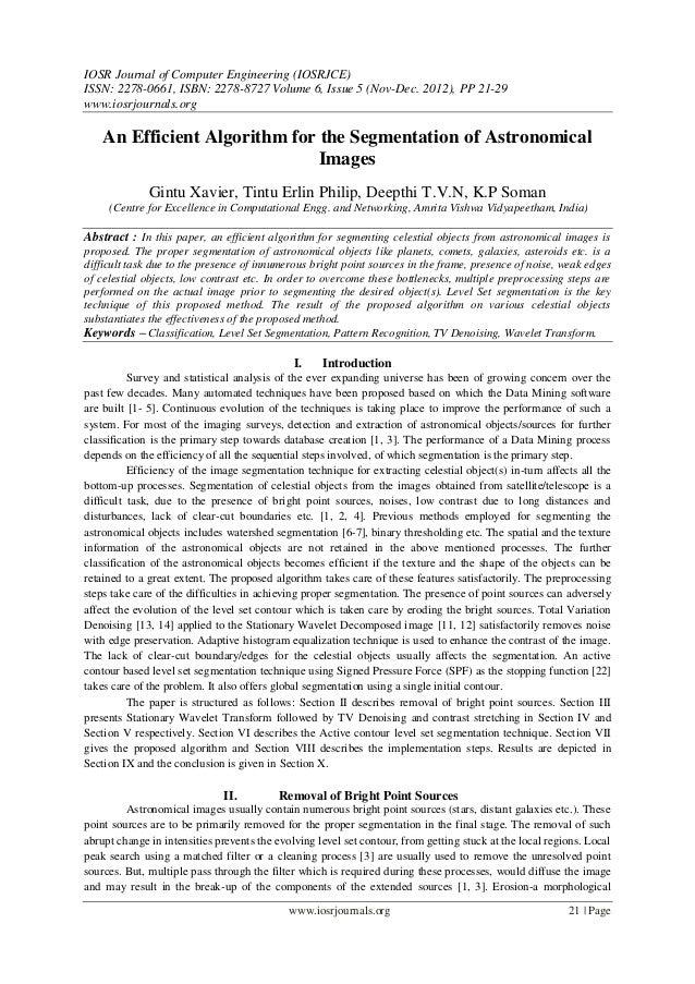 An Efficient Algorithm for the Segmentation of Astronomical  Images