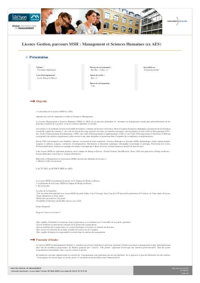 IAELYON SCHOOL OF MANAGEMENT Université Jean Moulin 6 cours Albert Thomas BP 8242 69355 Lyon cedex 08 (33) 04 78 78 70 66 ...