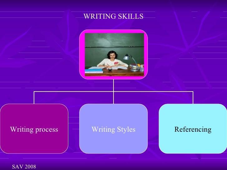 WRITING SKILLS SAV 2008 WRITING Writing process Writing Styles Referencing