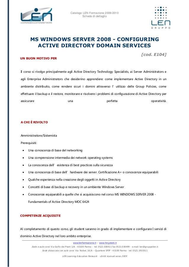 Configuring active directory domain services - Scheda corso LEN