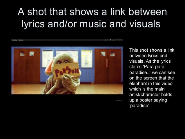 A shot that shows a link between lyrics and/or music and visuals                       This shot shows a link             ...