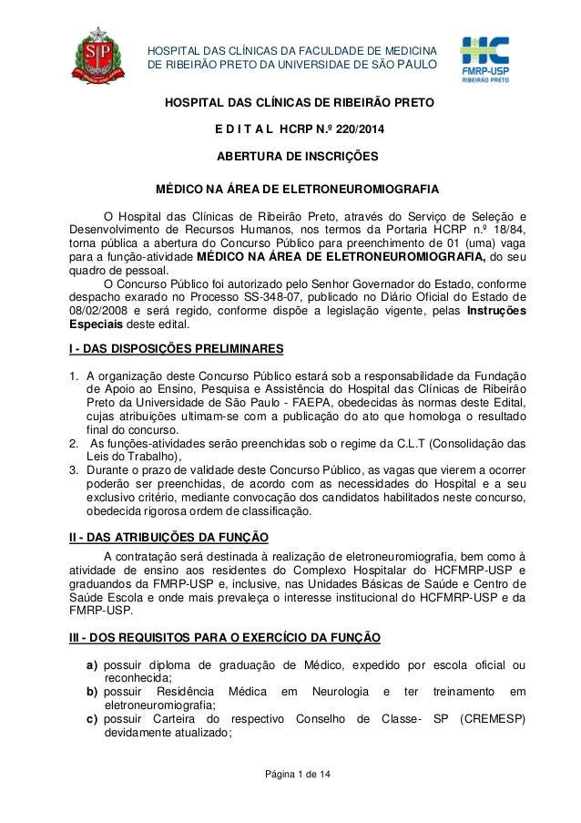 Página 1 de 14 HOSPITAL DAS CLÍNICAS DA FACULDADE DE MEDICINA DE RIBEIRÃO PRETO DA UNIVERSIDAE DE SÃO PAULO HOSPITAL DAS C...