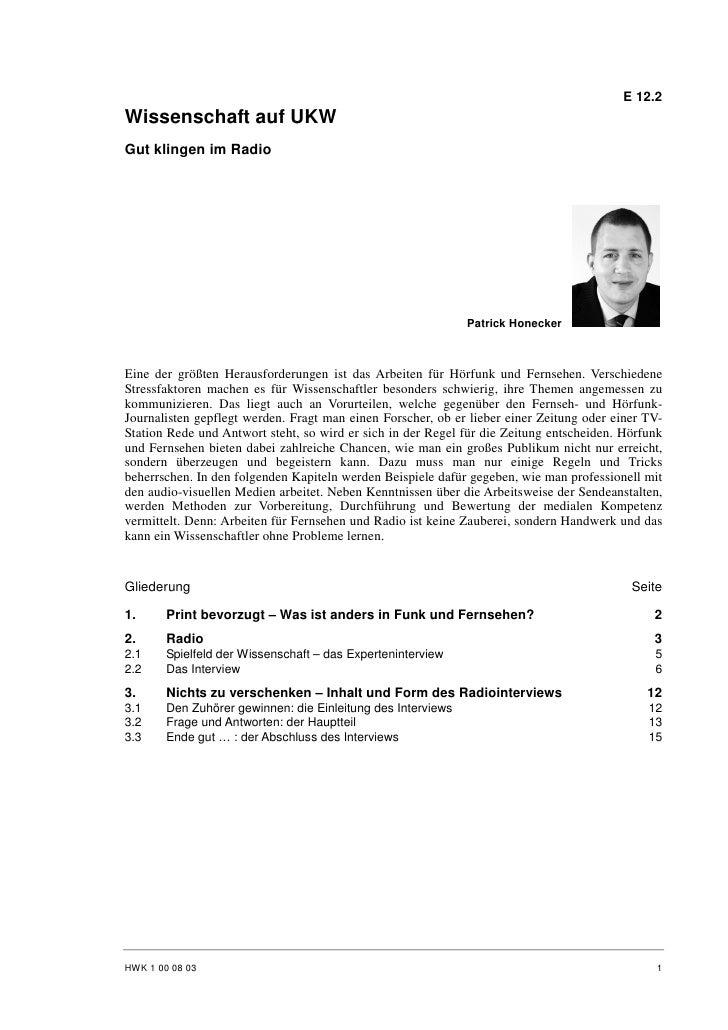Patrick Honecker: Wissenschaft auf UKW - Gut klingen im Radio
