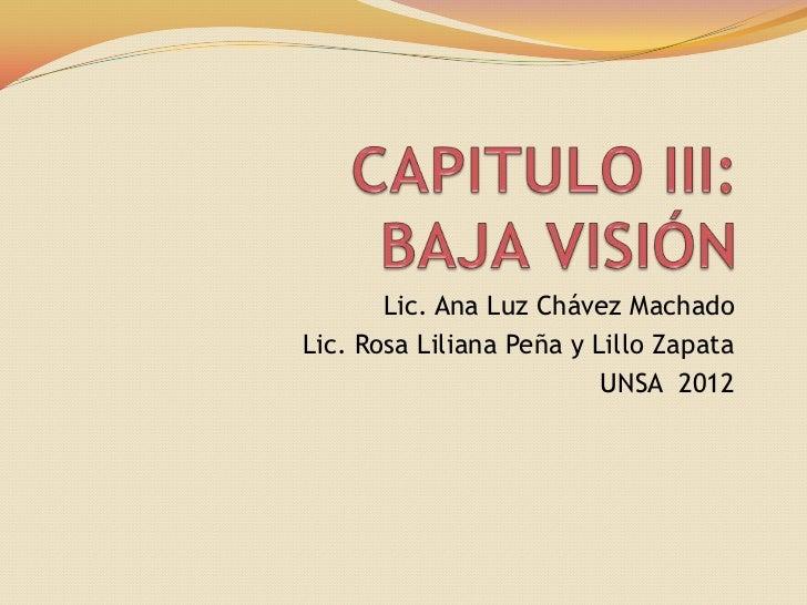 Lic. Ana Luz Chávez MachadoLic. Rosa Liliana Peña y Lillo Zapata                          UNSA 2012