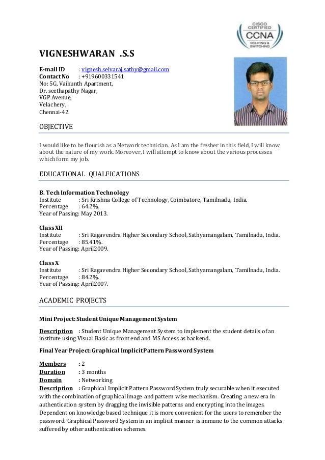 vigneshwaran resume updated chennai