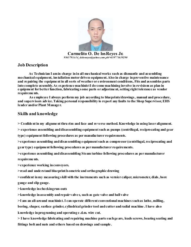 mechanical technician job description mechanical technician sample ...