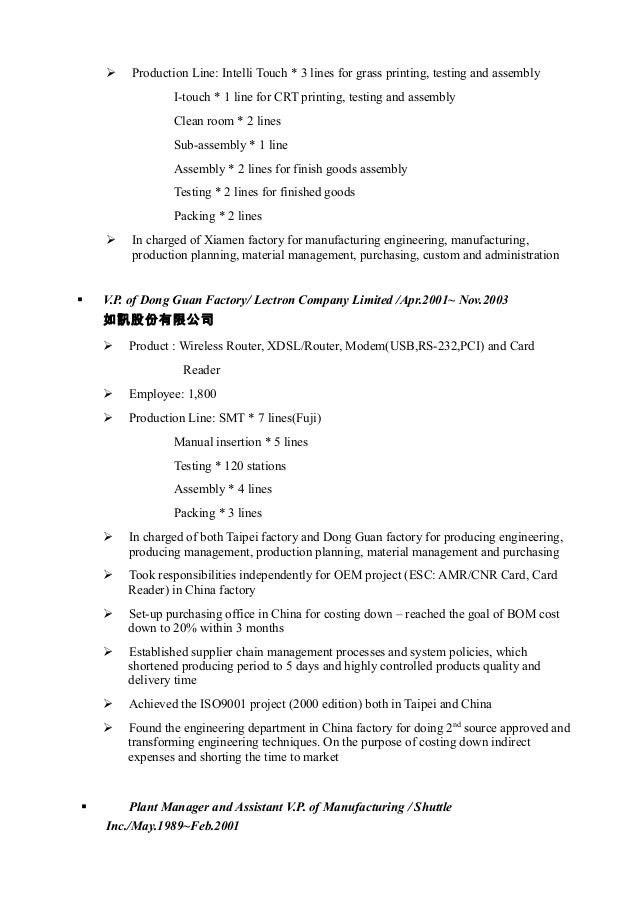 Assembly Line Resume Sample - Best Resumes