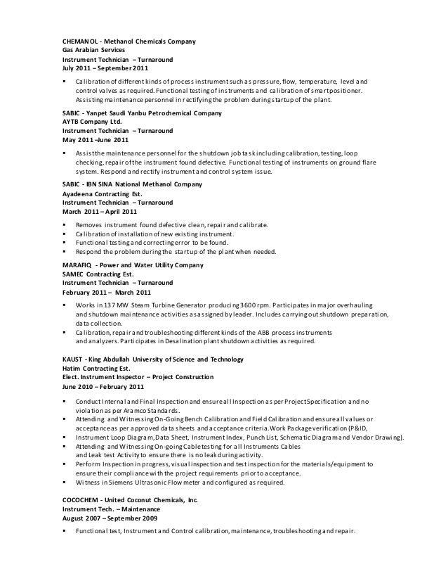 Instrument Technician Resume Sample  Technician Resumes