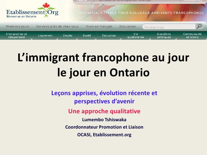E1 attracting and retaining french speaking immigrants in ontario-lumembo tshiswaka