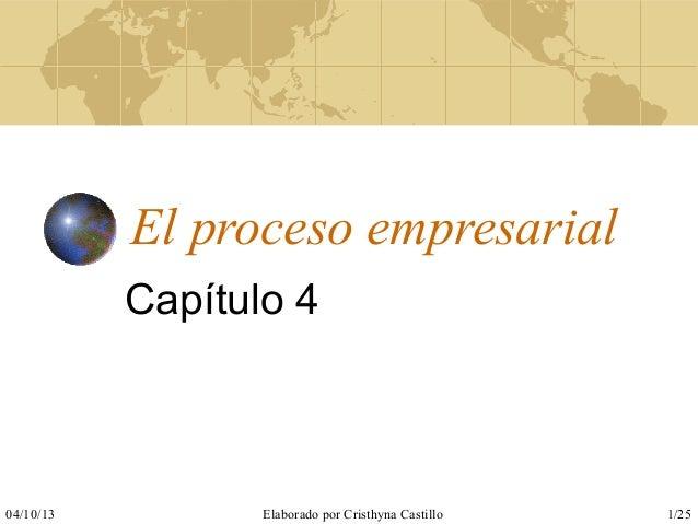 04/10/13 Elaborado por Cristhyna Castillo 1/25 El proceso empresarial Capítulo 4