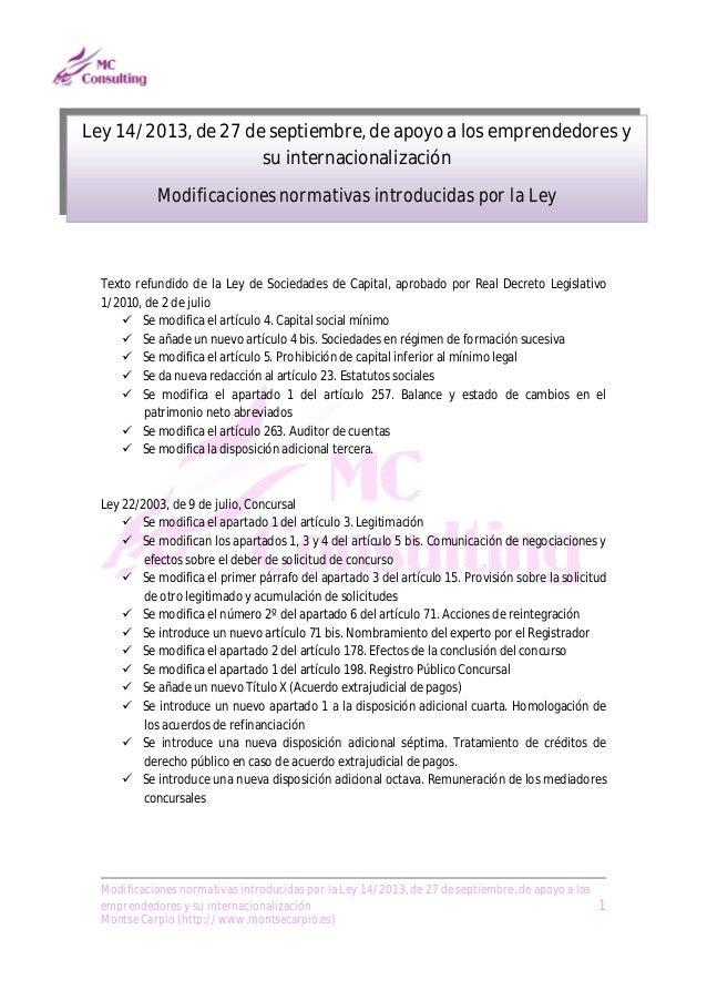 Ley 14/2013, de apoyo a los emprendedores y su internacionalización. Tabla comparativa
