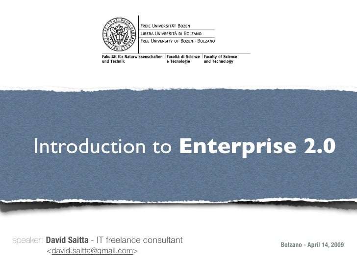 Introduction to Enterprise 2.0