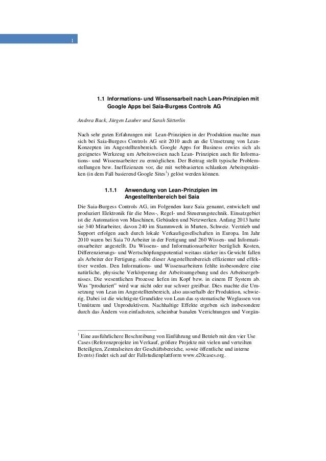1 1.1 Informations- und Wissensarbeit nach Lean-Prinzipien mit Google Apps bei Saia-Burgess Controls AG Andrea Back, Jürge...