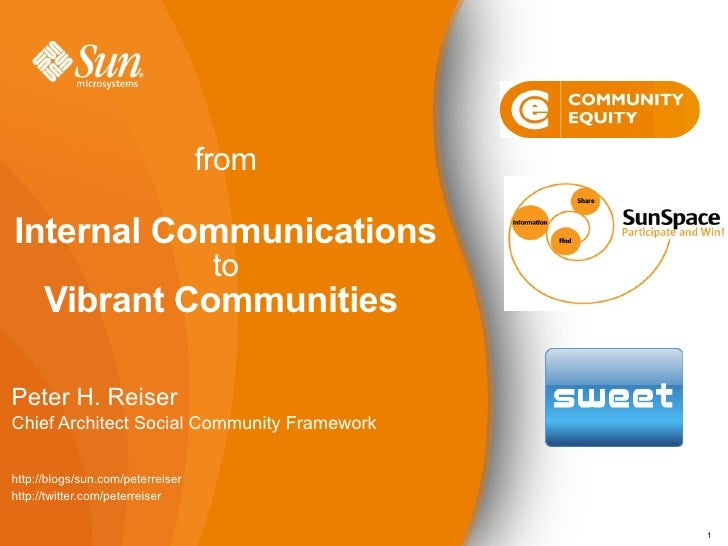 from  Internal Communications                                     to       Vibrant Communities  Peter H. Reiser Chief Arch...