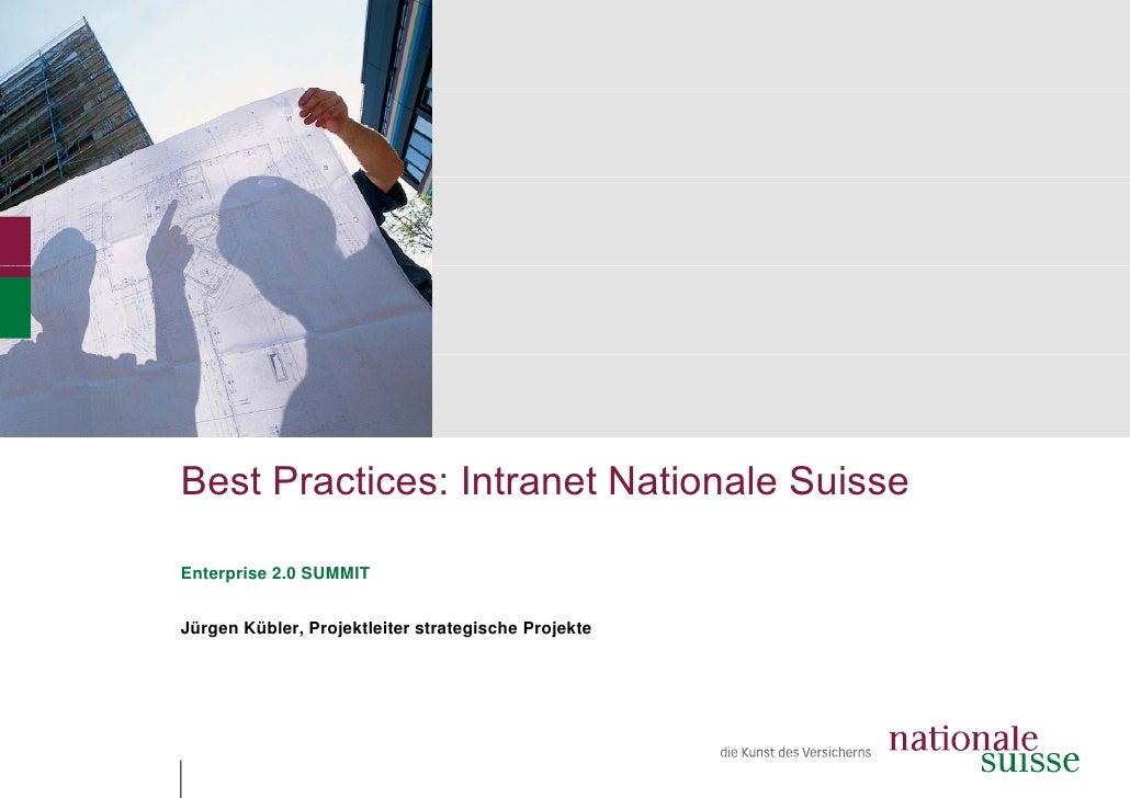 Best Practices: Intrane Nationale Suisse                       et  Enterprise 2.0 SUMMIT   Jürgen Kübler, Projektleiter st...