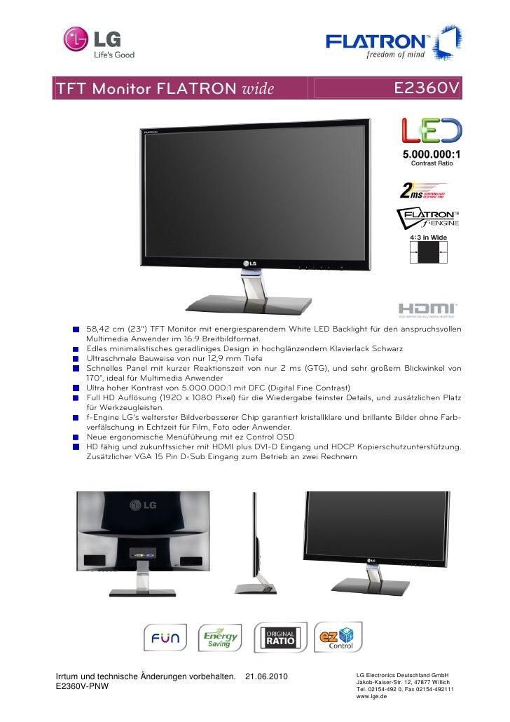 TFT Monitor FLATRON wide                                                                     E2360V            58,42 cm (2...