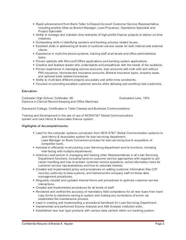 loan servicing resume 2016 1