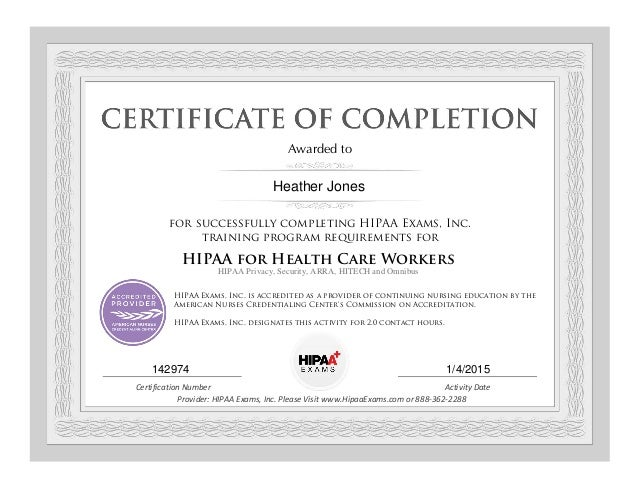 Hipaa Certification Pdf