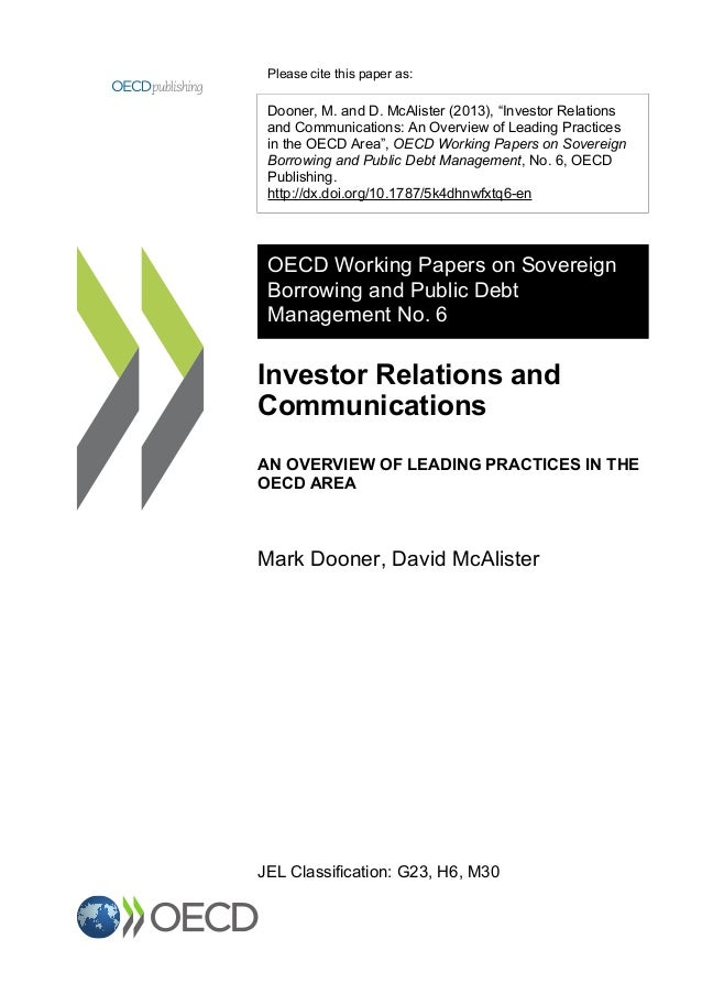 OECD Working Paper - Investor Relations & Communications
