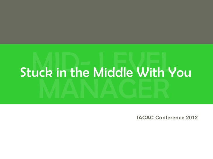 MID- Middle With YouStuck in the LEVEL   MANAGER              IACAC Conference 2012