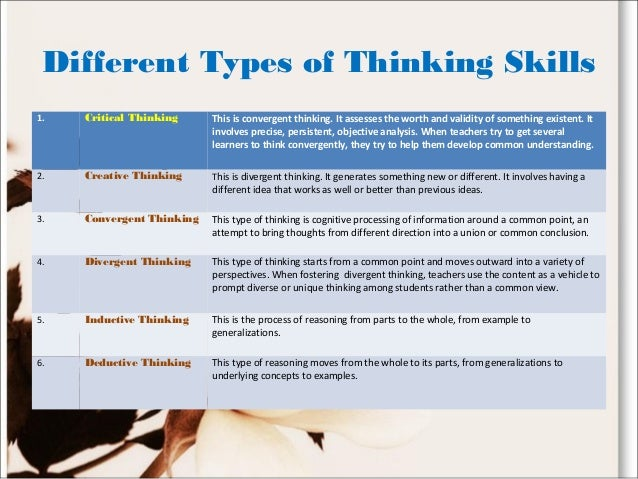 types of critical thinking skills The basics of critical thinking book is designed to teach critical thinking to middle and upper elementary students many workbooks claim to teach or develop critical thinking skills, but most of these products never define critical thinking or try to tea.